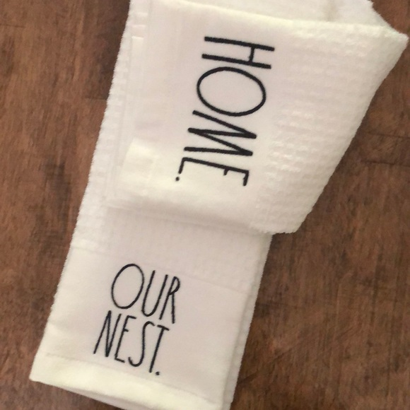 """Rae Dunn hand towels """"Home"""" & """"Our Nest"""""""